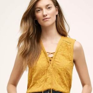 Anthropologie Maeve Embroidered Lace Up Tank